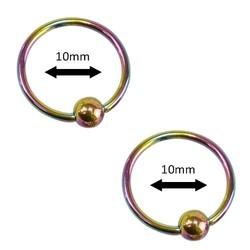Fako Bijoux® - Ball Closure Piercing - Ring - 10mm - Multicolour - 2 Stuks