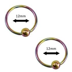 Fako Bijoux® - Ball Closure Piercing - Ring - 12mm - Multicolour - 2 Stuks