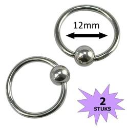Fako Bijoux® - Ball Closure Piercing - Ring - 12mm - Zilverkleurig - 2 Stuks