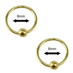 Fako Bijoux® - Ball Closure Piercing - Ring - 8mm - Goudkleurig - 2 Stuks