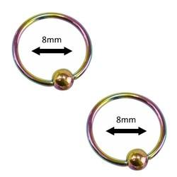 Fako Bijoux® - Ball Closure Piercing - Ring - 8mm - Multicolour - 2 Stuks