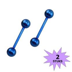 Fako Bijoux® - Barbell Piercing - 12mm - Blauw - 2 Stuks
