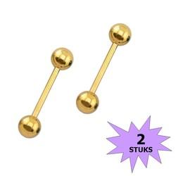 Fako Bijoux® - Barbell Piercing - 12mm - Goudkleurig - 2 Stuks