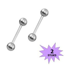 Fako Bijoux® - Barbell Piercing - 12mm - Zilverkleurig - 2 Stuks