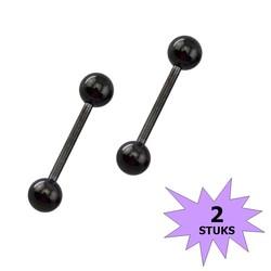 Fako Bijoux® - Barbell Piercing - 12mm - Zwart - 2 Stuks
