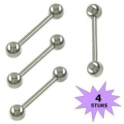 Fako Bijoux® - Barbell Piercing - 20mm - Zilverkleurig - 4 Stuks
