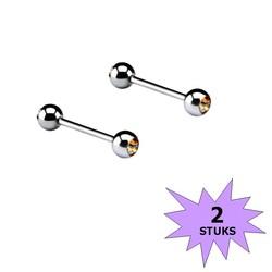 Fako Bijoux® - Barbell Piercing - Kristal - 12mm - Geel - Stuks