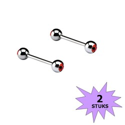 Fako Bijoux® - Barbell Piercing - Kristal - 12mm - Rood - 2 Stuks