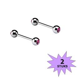 Fako Bijoux® - Barbell Piercing - Kristal - 12mm - Roze - 2 Stuks