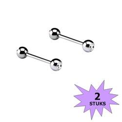 Fako Bijoux® - Barbell Piercing - Kristal - 12mm - Wit - 2 Stuks