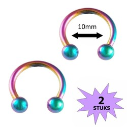 Fako Bijoux® - Circular Barbell Piercing - Hoefijzer - 10mm - Multicolour - 2 Stuks