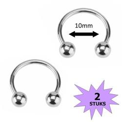 Fako Bijoux® - Circular Barbell Piercing - Hoefijzer - 10mm - Zilverkleurig - 2 Stuks