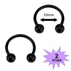 Fako Bijoux® - Circular Barbell Piercing - Hoefijzer - 10mm - Zwart - 2 Stuks