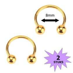 Fako Bijoux® - Circular Barbell Piercing - Hoefijzer 8mm - Goudkleurig - 2 Stuks