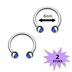 Fako Bijoux® - Circular Barbell Piercing - Hoefijzer Kristal Duo - 8mm - Donkerblauw - 2 Stuks