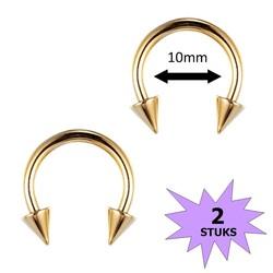 Fako Bijoux® - Circular Barbell Piercing - Hoefijzer Spike - 10mm - Goudkleurig - 2 Stuks