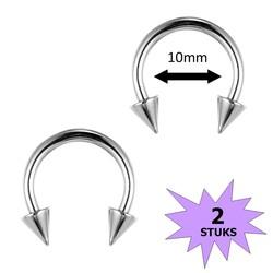 Fako Bijoux® - Circular Barbell Piercing - Hoefijzer Spike - 10mm - Zilverkleurig - 2 Stuks