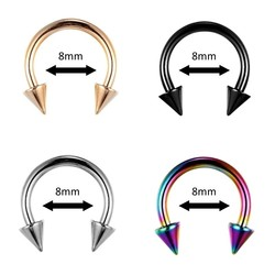 Fako Bijoux® - Circular Barbell Piercing - Hoefijzer Spike - 8mm - Set - 4 Stuks