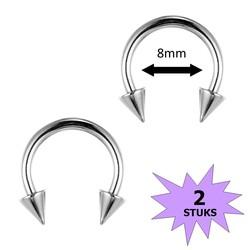 Fako Bijoux® - Circular Barbell Piercing - Hoefijzer Spike - 8mm - Zilverkleurig - 2 Stuks
