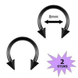 Fako Bijoux® - Circular Barbell Piercing - Hoefijzer Spike - 8mm - Zwart - 2 Stuks