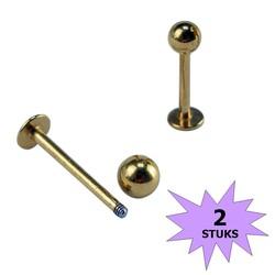 Fako Bijoux® - Labret Piercing - 3mm - Goudkleurig - 2 Stuks