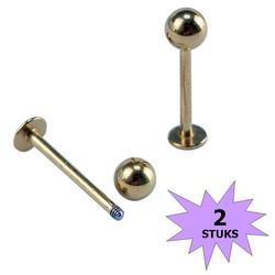 Fako Bijoux® - Labret Piercing - 4mm - Goudkleurig - 2 Stuks