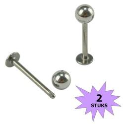Fako Bijoux® - Labret Piercing - 4mm - Zilverkleurig - 2 Stuks