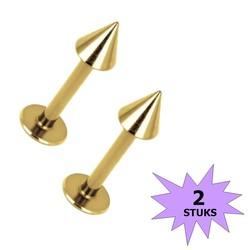 Fako Bijoux® - Labret Piercing - Spike - 3mm - Goudkleurig - 2 Stuks