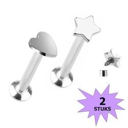 Fako Bijoux® - Labret Piercing - Ster & Hart - 3.5mm - Zilverkleurig - 2 Stuks