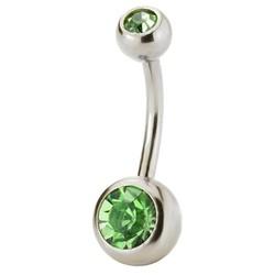 Fako Bijoux® - Navelpiercing - Kristal - Groen