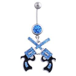 Fako Bijoux® - Navelpiercing - Pistool Duo - Blauw