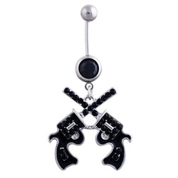 Fako Bijoux® - Navelpiercing - Pistool Duo - Zwart