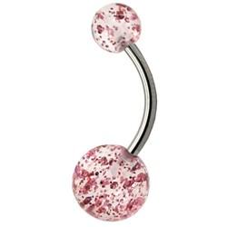 Fako Bijoux® - Navelpiercing - Acryl & RVS - Glitter - Roze