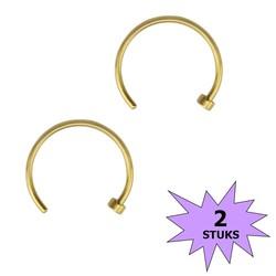 Fako Bijoux® - Neuspiercing - Open Ring - 10mm - Goudkleurig - 2 Stuks