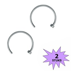 Fako Bijoux® - Neuspiercing - Open Ring - 10mm - Zilverkleurig - 2 Stuks