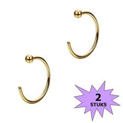 Fako Bijoux® - Neuspiercing - Open Ring Bal - 8mm - Goudkleurig - 2 Stuks