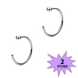 Fako Bijoux® - Neuspiercing - Open Ring Bal - 8mm - Zilverkleurig - 2 Stuks