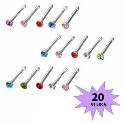 Fako Bijoux® - Neuspiercing - Staafje Kristal - Gekleurd - 20 Stuks