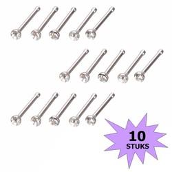Fako Bijoux® - Neuspiercing - Staafje Kristal - Wit - 10 Stuks