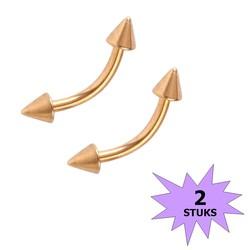 Fako Bijoux® - Wenkbrauw Piercing - Spike - 3mm - Goudkleurig - 2 Stuks