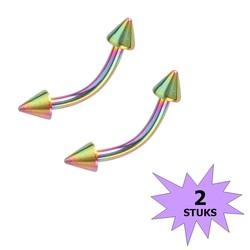 Fako Bijoux® - Wenkbrauw Piercing - Spike - 3mm - Multicolour - 2 Stuks