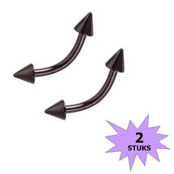 Fako Bijoux® - Wenkbrauw Piercing - Spike - 3mm - Zwart - 2 Stuks