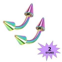 Fako Bijoux® - Wenkbrauw Piercing - Spike - 4mm - Multicolour - 2 Stuks