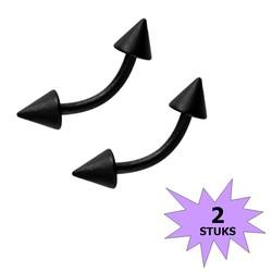 Fako Bijoux® - Wenkbrauw Piercing - Spike - 4mm - Zwart - 2 Stuks