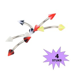 Fako Bijoux® - Wenkbrauw Piercing - Acryl Spike - 4mm - Set - 4 Stuks