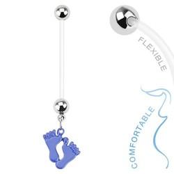 Fako Bijoux® - Zwangerschapspiercing - Babyvoetjes - Blauw