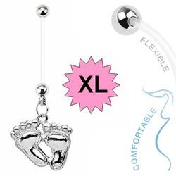 Fako Bijoux® - Zwangerschapspiercing - Babyvoetjes XL - Zilverkleurig