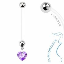 Fako Bijoux® - Zwangerschapspiercing - Hart - Paars