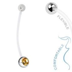 Fako Bijoux® - Zwangerschapspiercing - Kristal - Geel