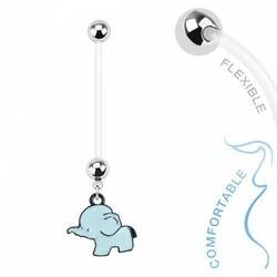 Fako Bijoux® - Zwangerschapspiercing - Olifantje - Blauw